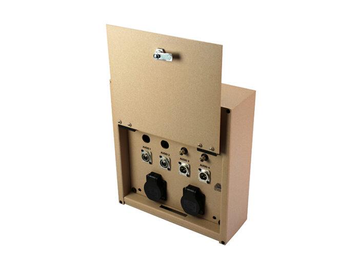 av surface box 2triax 2 bnc 2xlrf 2xlrm 2 schuko